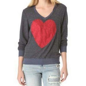 Wildfox v neck glitter heart pullover sweater